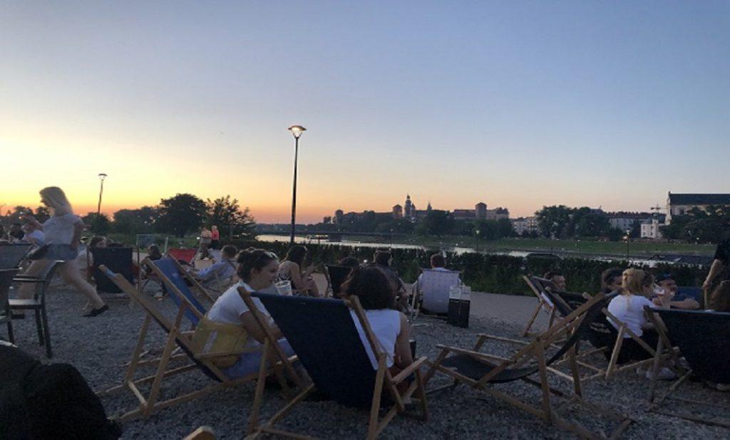 Forum Przestrzeni view over Kraków on a summer night